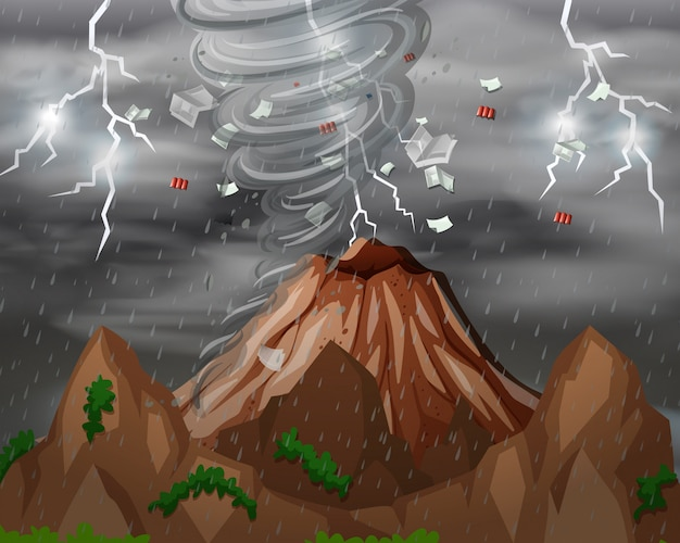 Cyclone hit the mountain Free Vector