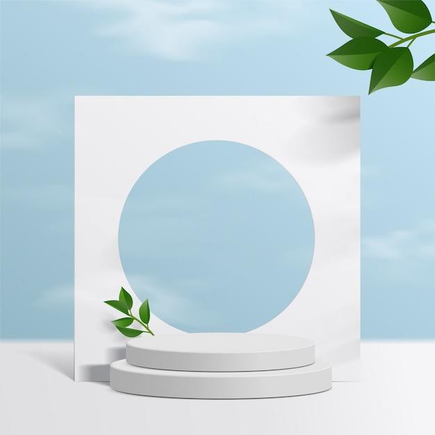 Цилиндр белый подиум с предпосылкой неба и бумажными листьями. презентация продукта, сцена для демонстрации косметического продукта, подиум, пьедестал или платформа. простая чистка. Premium векторы