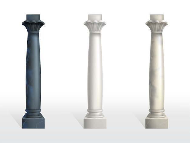 Cylindrical columns of black, white and beige marble stone Free Vector