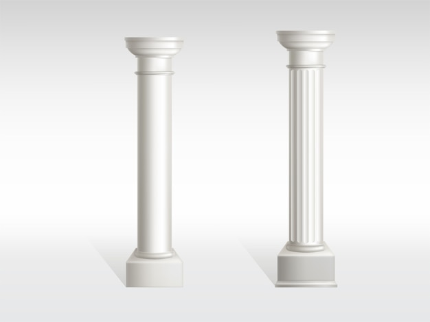 Cylindrical columns of white marble with smooth, textured pillar surfaces Free Vector