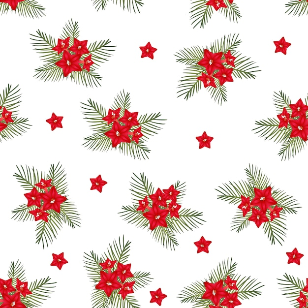 Cypress vine flower on christmas white background Premium Vector