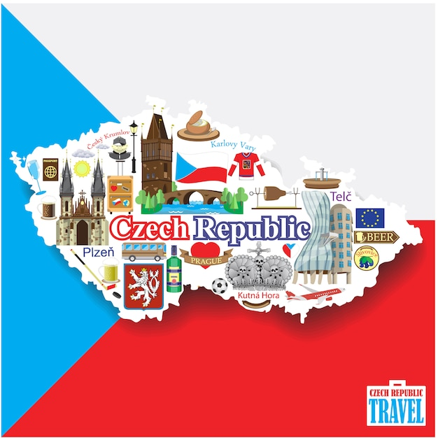 Czech republic background. seticons and symbols in form of map Premium Vector