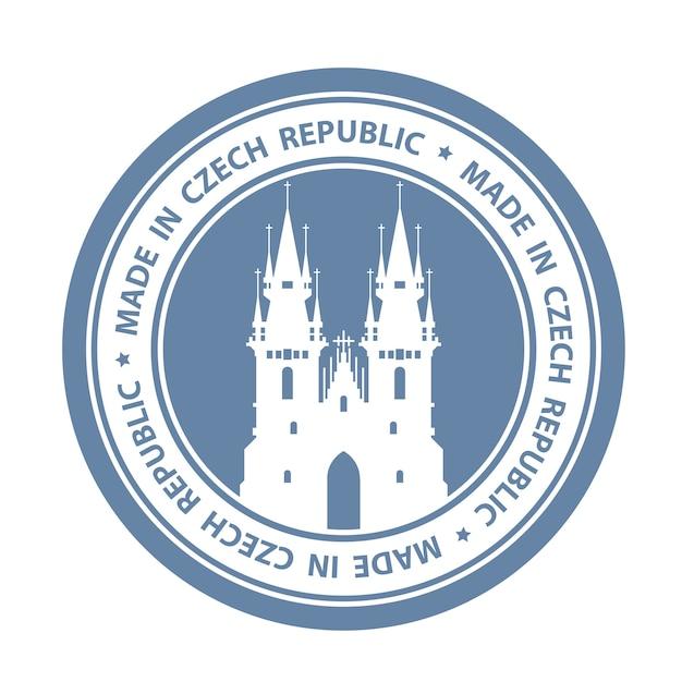 プラハのシンボル-ティーンの前に聖母教会のチェコ旅行スタンプ Premiumベクター