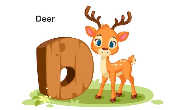 D for deer Premium Vector