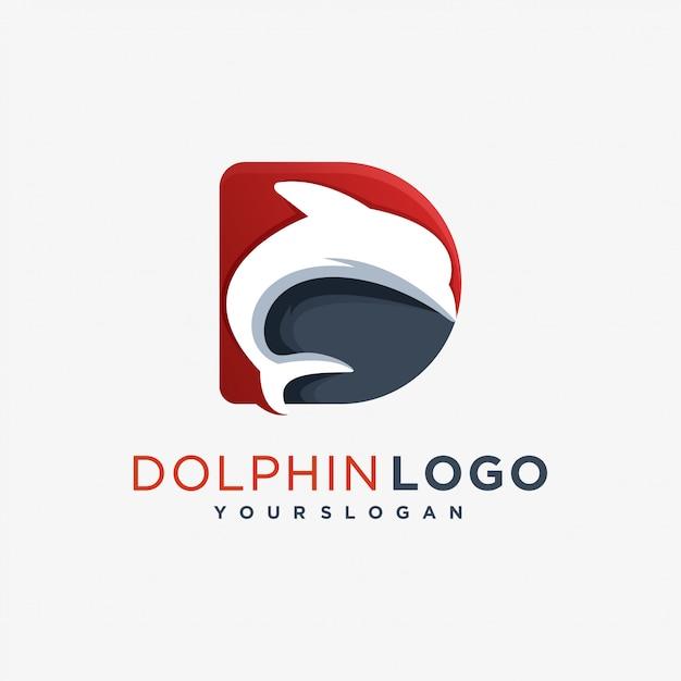 Dドラゴンロゴ海哺乳類 Premiumベクター