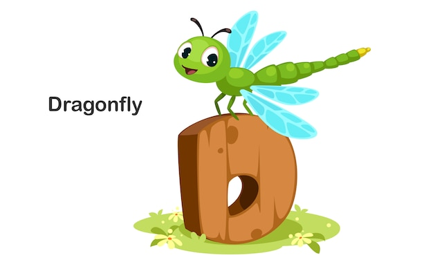 D for dragonfly Premium Vector