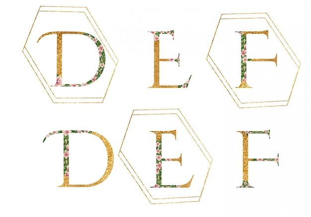 D、e、fのロゴのアルファベット Premiumベクター