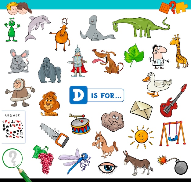 D is for educational game for children Premium Vector