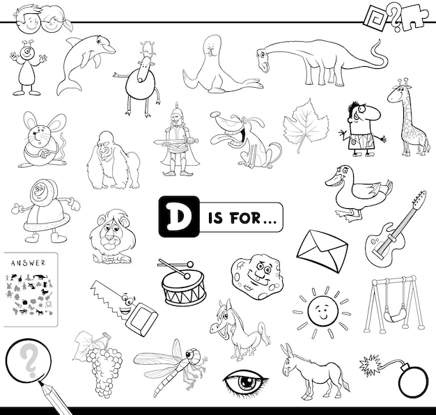 D is for educational game coloring book Premium Vector