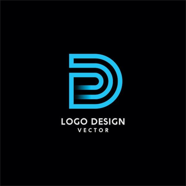 D letter typography logo design Premium Vector
