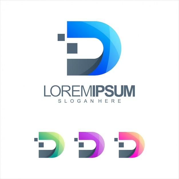 Буква d tech логотип Premium векторы