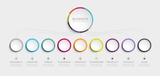 成功のための手順を持つ抽象dインフォグラフィックテンプレート Premiumベクター