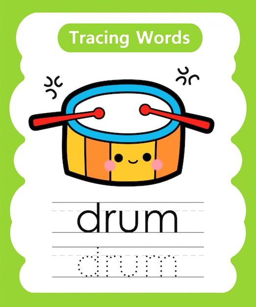 Письменные практические слова: алфавит, отслеживающий d - барабан Premium векторы