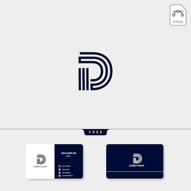 Исходный шаблон логотипа d, шаблон дизайна визитной карточки включают Premium векторы