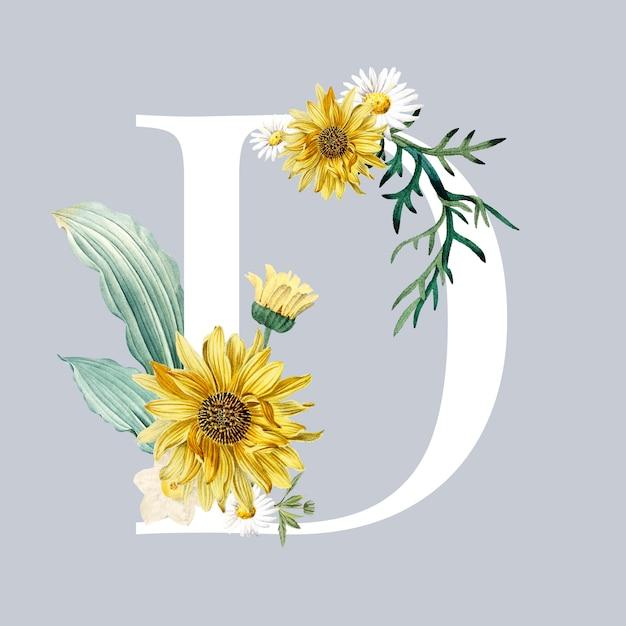 Буква d с цветами Бесплатные векторы