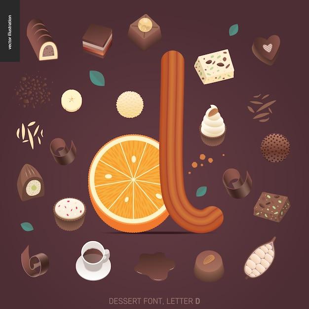 デザートフォント - 文字d  - 誘惑フォント、甘いレタリングのモダンなフラットベクトル概念デジタルイラスト。キャラメル、タフィー、ビスケット、ワッフル、クッキー、クリーム、チョコレートの手紙 Premiumベクター