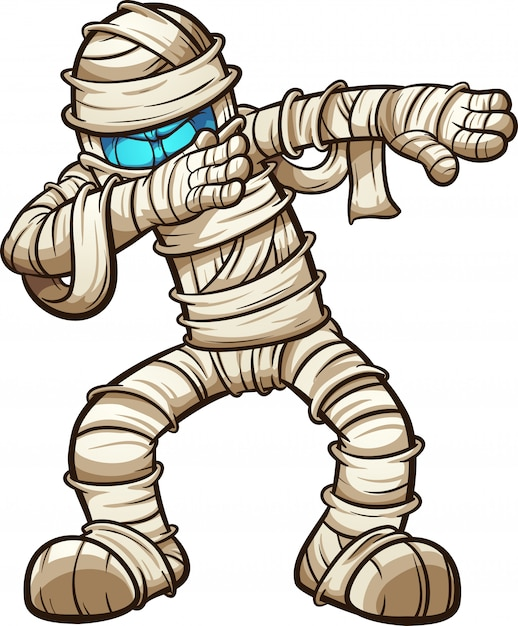 Dabbing cartoon mummy | Premium Vector