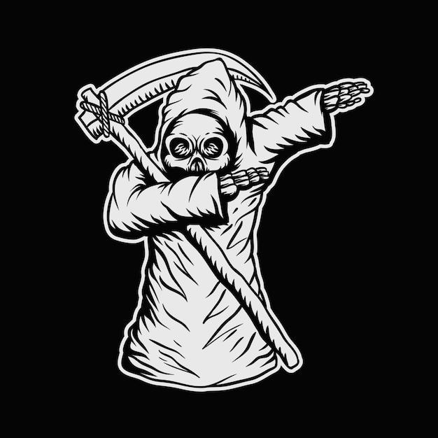 Dabbing death skull vector illustration Premium Vector