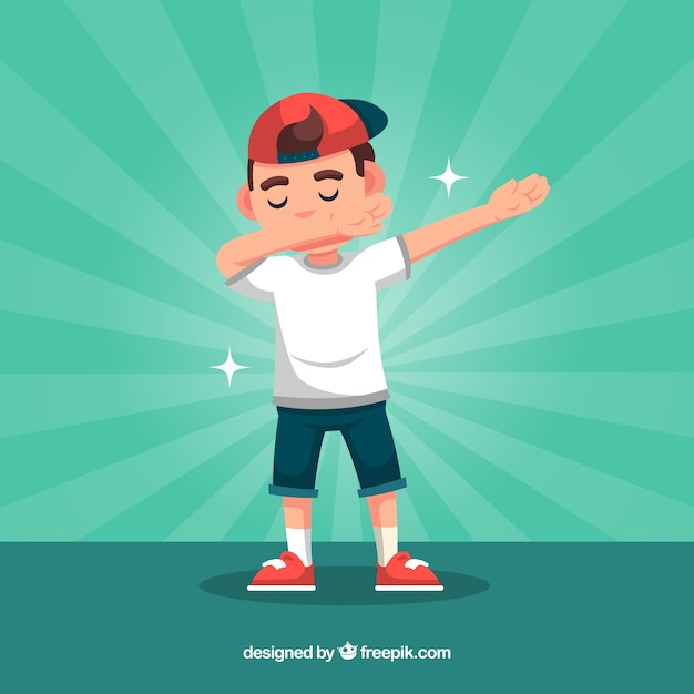 Dabbing kid in flat style Free Vector