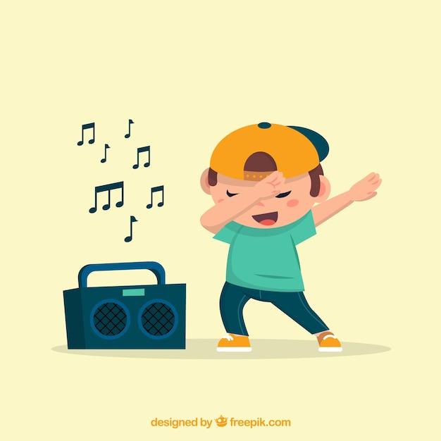 Малыш, делающий dabbing с радио Бесплатные векторы
