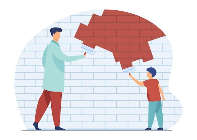 Папа и ребенок рисуют стену. отец и сын ремонтируют или украшают квартиру. иллюстрации шаржа Бесплатные векторы
