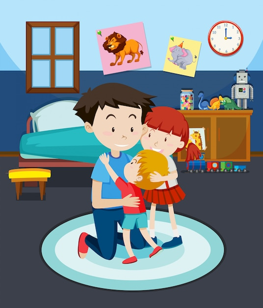 Dad and children in bedroom Free Vector