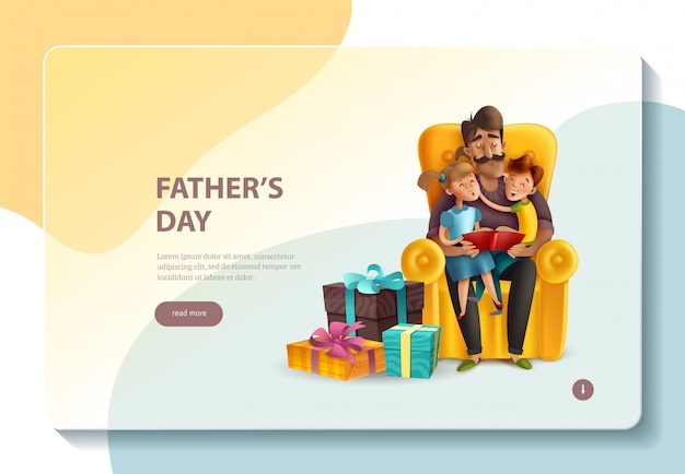 Dad hugging his kids banner template Free Vector