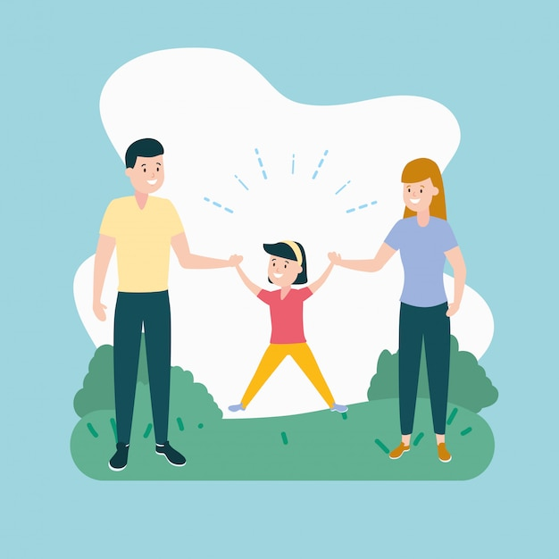 Dad, mom and daughter Free Vector