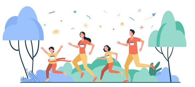 Dad, mom and kids running together in park isolated flat vector illustration. happy cartoon man, woman and children jogging marathon. family and healthy lifestyle concept Free Vector