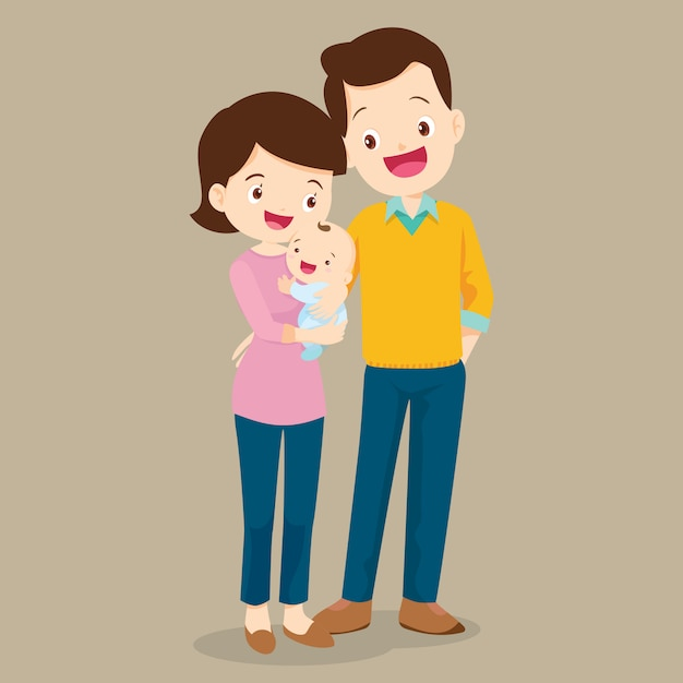 Dad and mom with cute baby Premium Vector