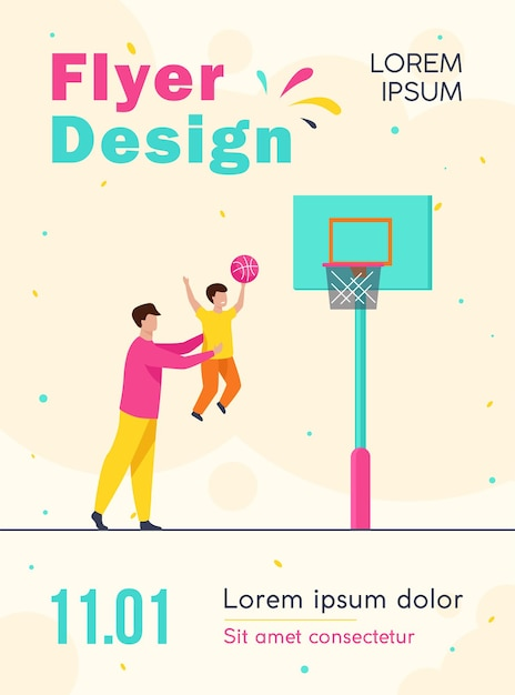 Papà che gioca a basket con modello di volantino figlio piccolo Vettore gratuito