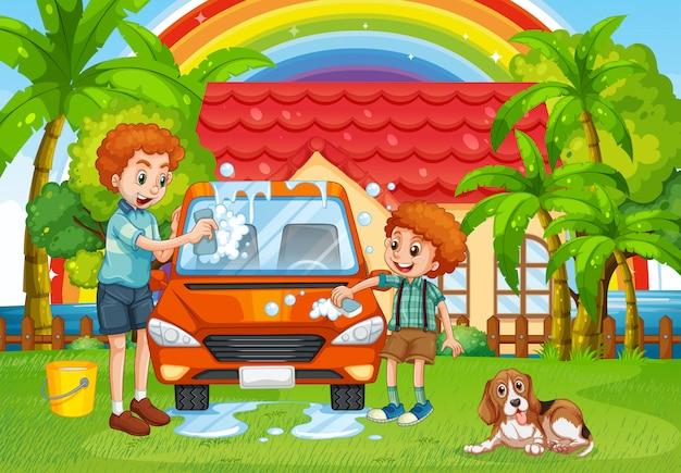 Dad and son washing car in backyard Free Vector