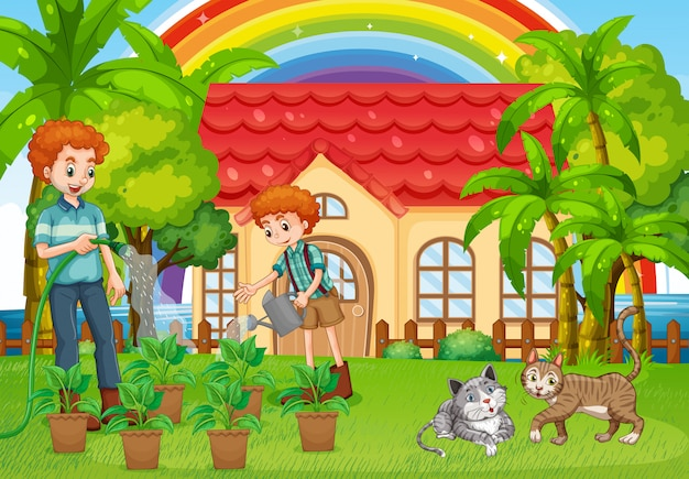 Dad and son watering plants in garden Free Vector