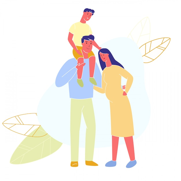 Dad with son hugs pregnant woman. family walks. Premium Vector