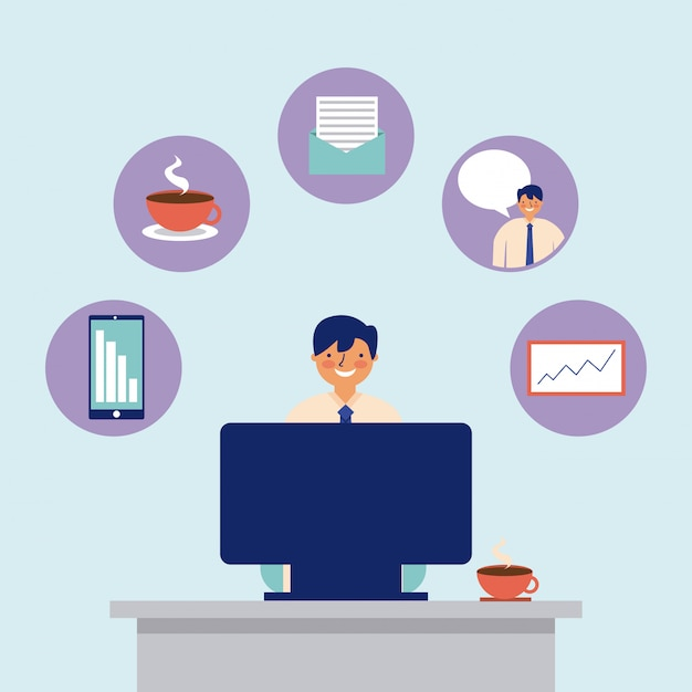 Daily activity computer man office work Free Vector