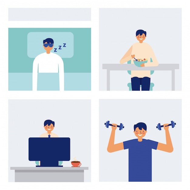 Daily activity man sleeping eating and exercise Free Vector