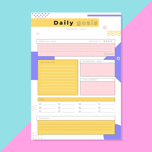Daily goals planner template Free Vector