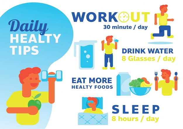 Daily healthy tips illustration with man character design Premium Vector