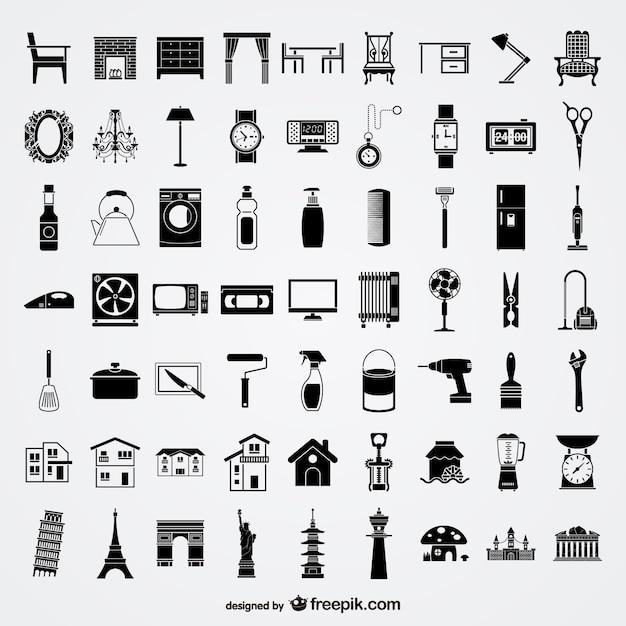 زندگی روزمره و بناهای تاریخی آیکون سیاه و سفید مجموعه ای