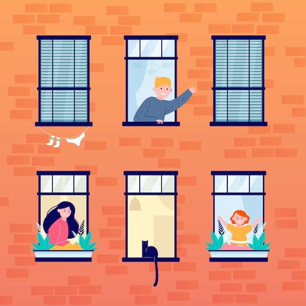 Daily life in open windows Free Vector