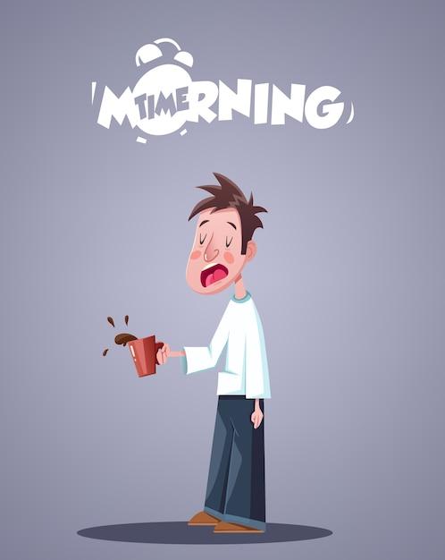 Ежедневная утренняя жизнь. зевая сонный человек с чашкой кофе. векторная иллюстрация Premium векторы