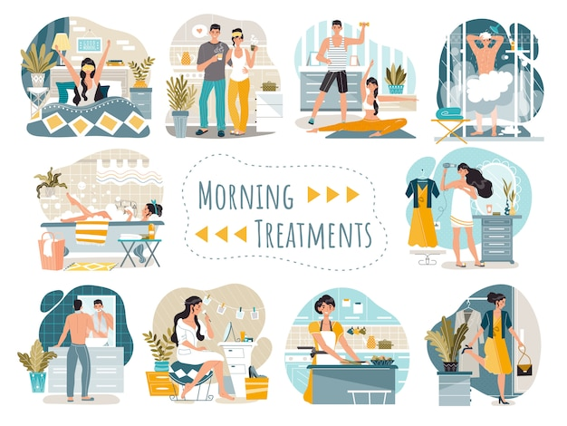 Daily morning routine of man and woman cartoon characters,   illustration Premium Vector