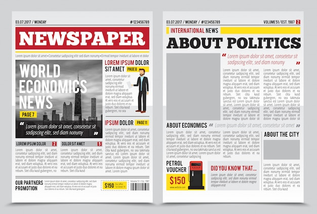 Daily newspaper journal design template with two-page opening editable headlines quotes text articles and images vector illustration Free Vector