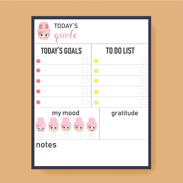 Daily planner to do list Premium Vector