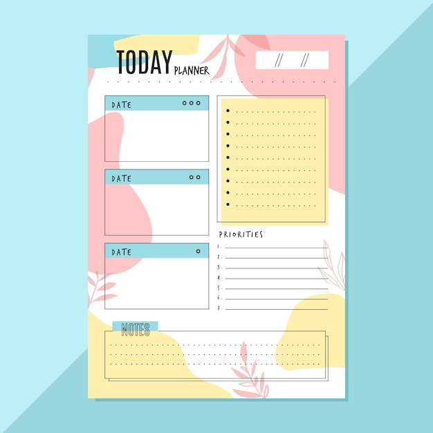 Daily planner template with leaves Free Vector