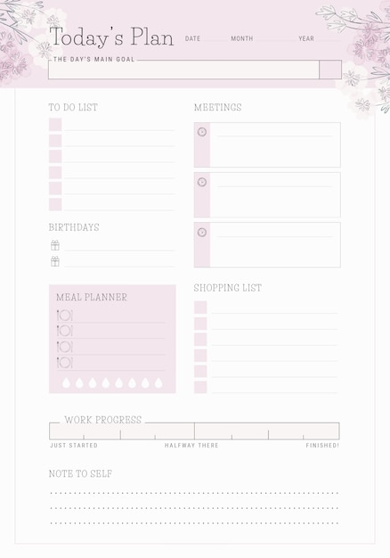 graphic about The Daily Planner called Every day planner template Vector High quality Down load