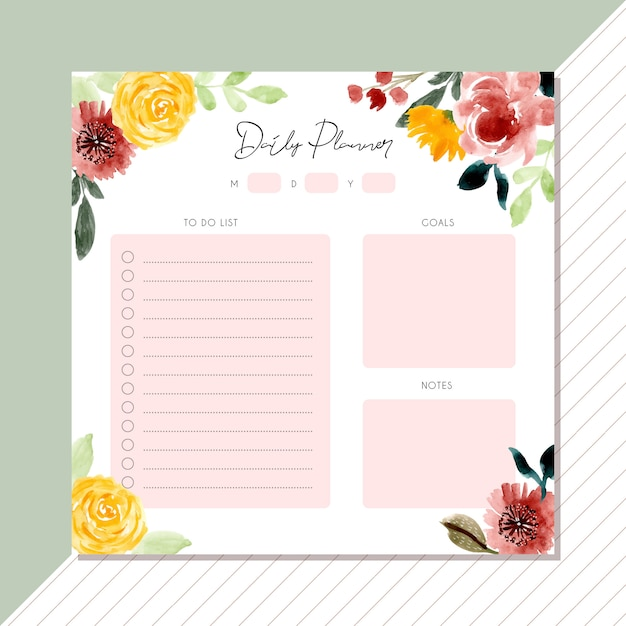 Daily planner with beautiful floral watercolor frame Premium Vector