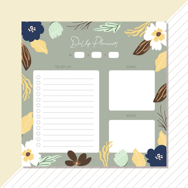 Daily planner with cute floral frame Premium Vector