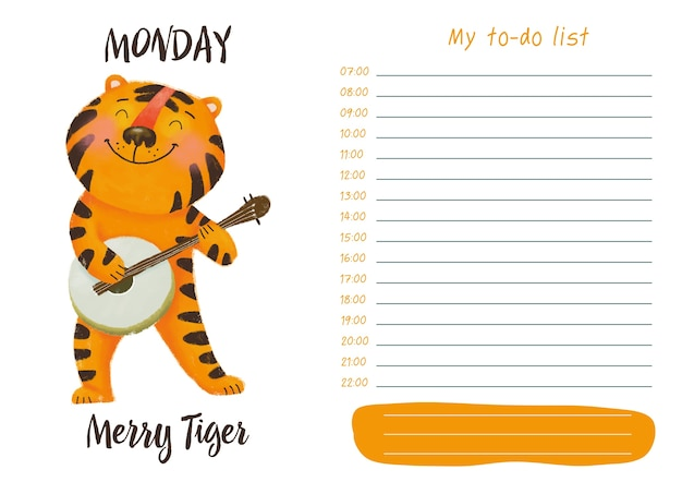 Daily planner with illustration of cute cartoon merry tiger. my day to-do list on monday Premium Vector
