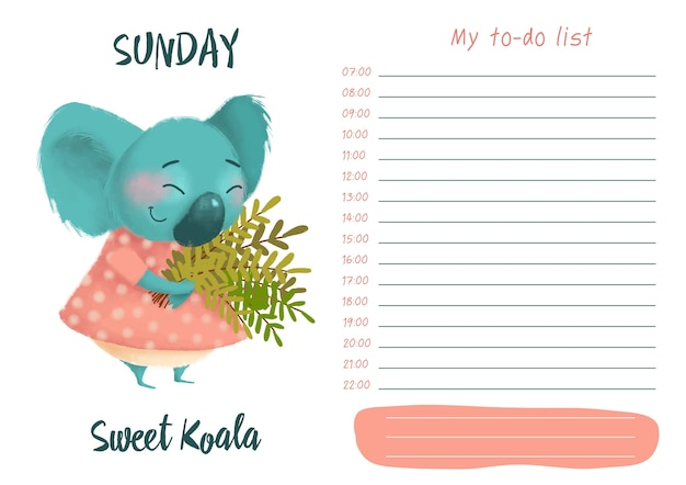 Daily planner with illustration of cute cartoon sweet koala. my day to-do list on sunday Premium Vector